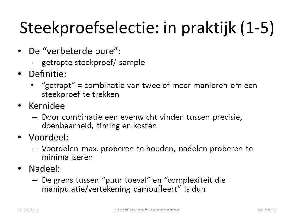 Steekproefselectie: in praktijk (1-5)