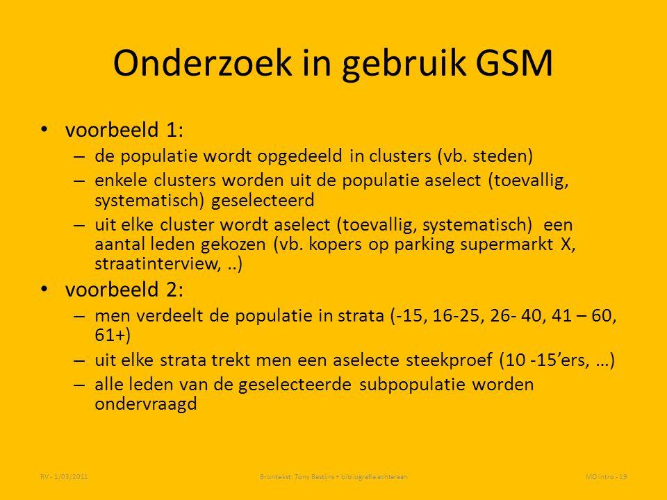 Onderzoek in gebruik GSM
