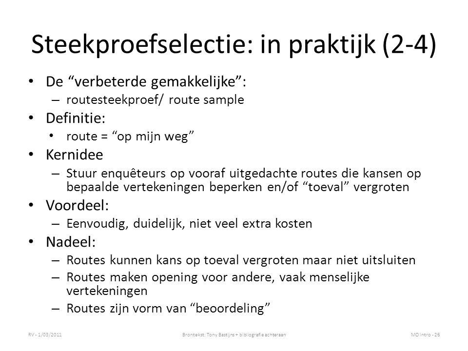Steekproefselectie: in praktijk (2-4)