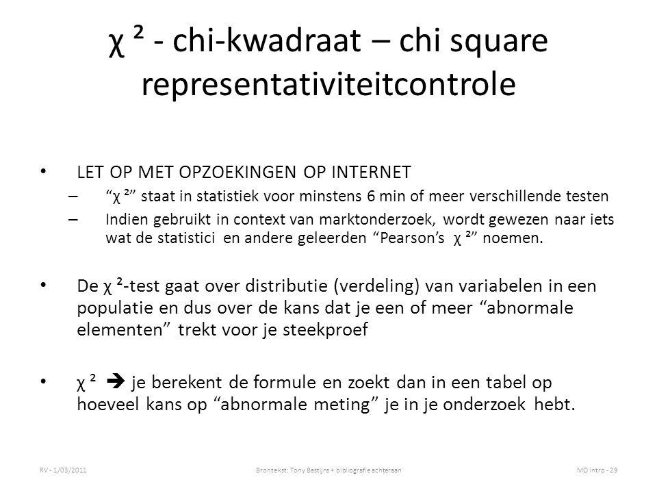 χ ² - chi-kwadraat – chi square representativiteitcontrole