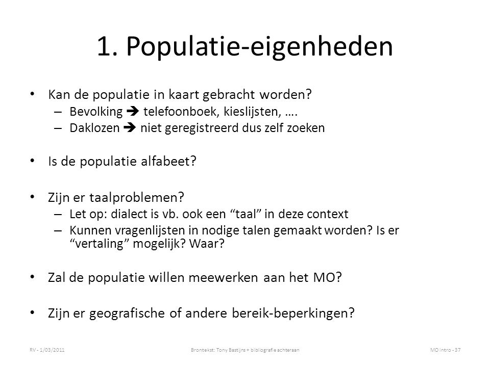 1. Populatie-eigenheden