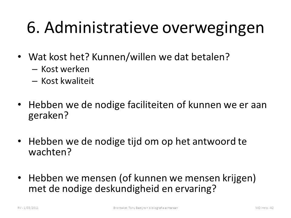 6. Administratieve overwegingen