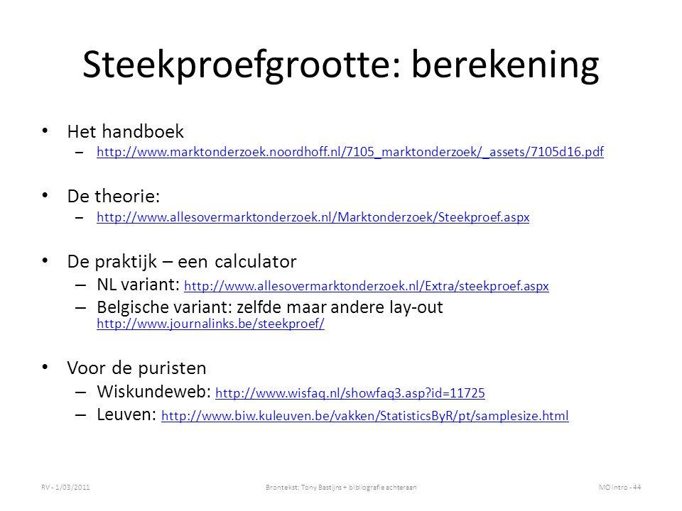 Steekproefgrootte: berekening