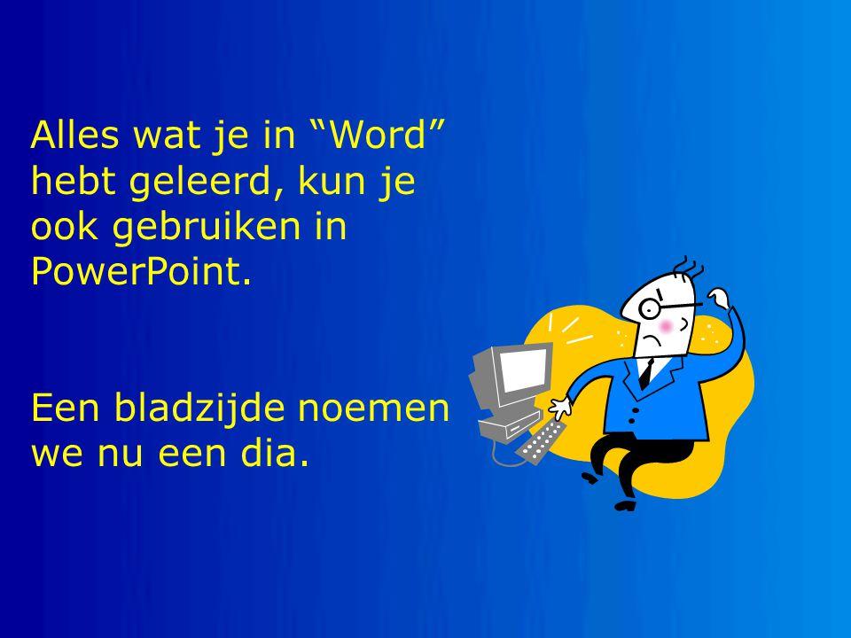 Alles wat je in Word hebt geleerd, kun je ook gebruiken in PowerPoint.