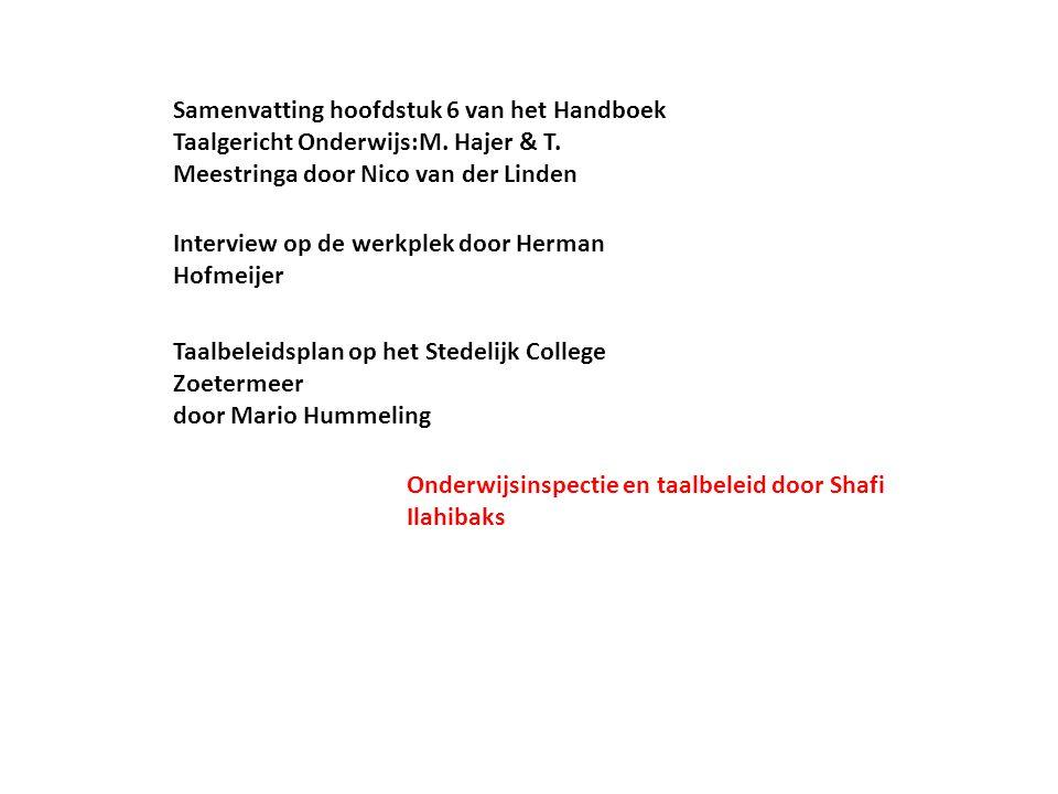 Samenvatting hoofdstuk 6 van het Handboek Taalgericht Onderwijs:M