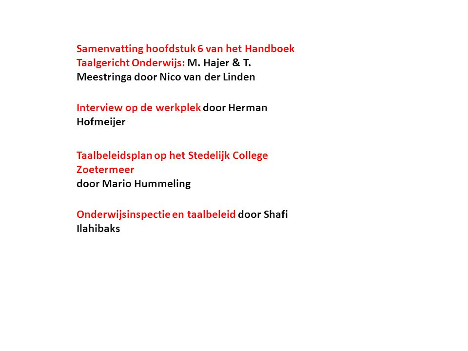 Samenvatting hoofdstuk 6 van het Handboek Taalgericht Onderwijs: M