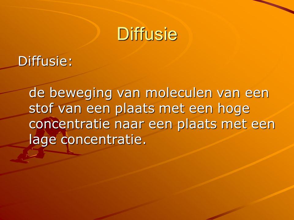 Diffusie Diffusie: de beweging van moleculen van een stof van een plaats met een hoge concentratie naar een plaats met een lage concentratie.