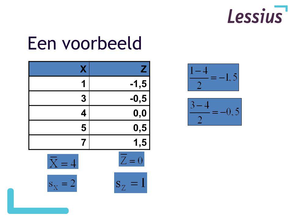 Een voorbeeld X Z 1 -1,5 3 -0,5 4 0,0 5 0,5 7 1,5
