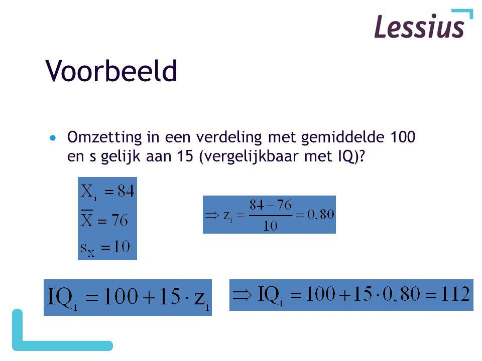 Voorbeeld Omzetting in een verdeling met gemiddelde 100 en s gelijk aan 15 (vergelijkbaar met IQ)