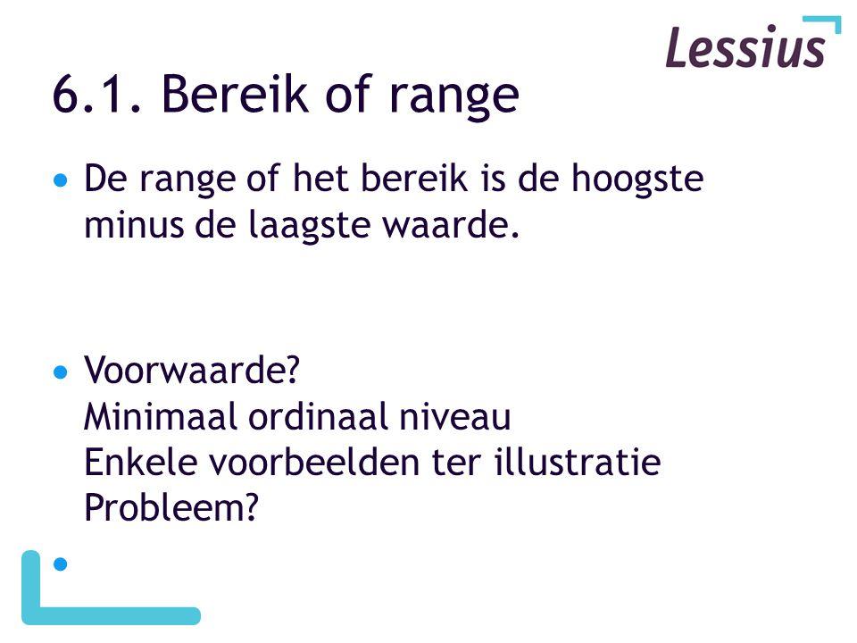 6.1. Bereik of range De range of het bereik is de hoogste minus de laagste waarde.