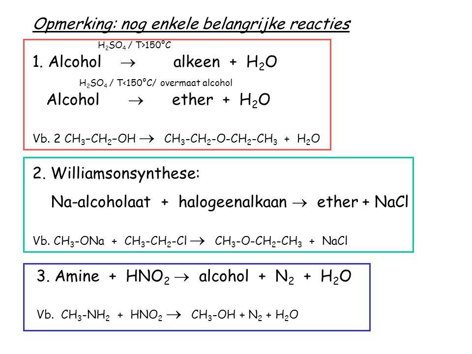 Opmerking: nog enkele belangrijke reacties H2SO4 / T>150°C 1