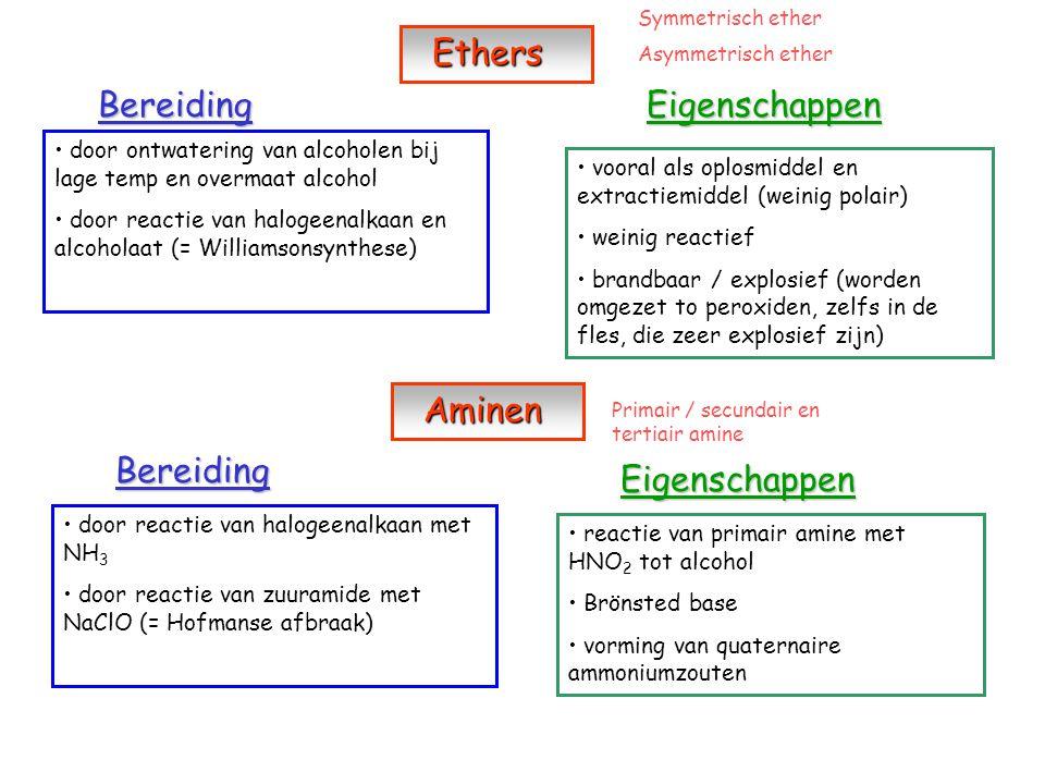 Ethers Bereiding Eigenschappen Aminen Bereiding Eigenschappen