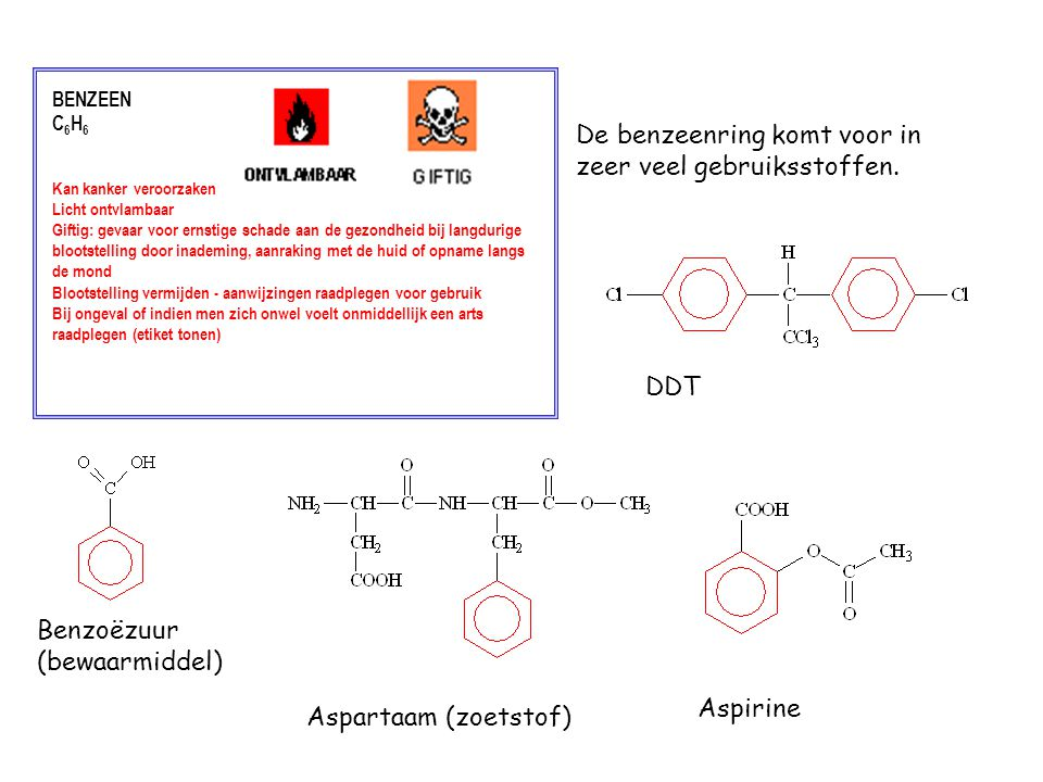 De benzeenring komt voor in zeer veel gebruiksstoffen.