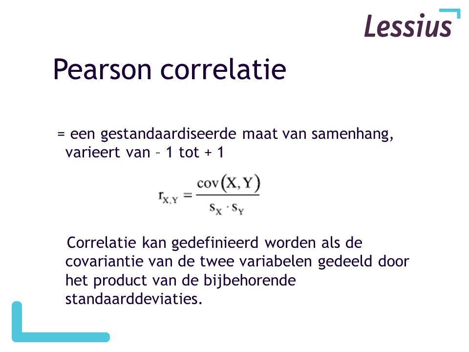 Pearson correlatie = een gestandaardiseerde maat van samenhang, varieert van – 1 tot + 1.