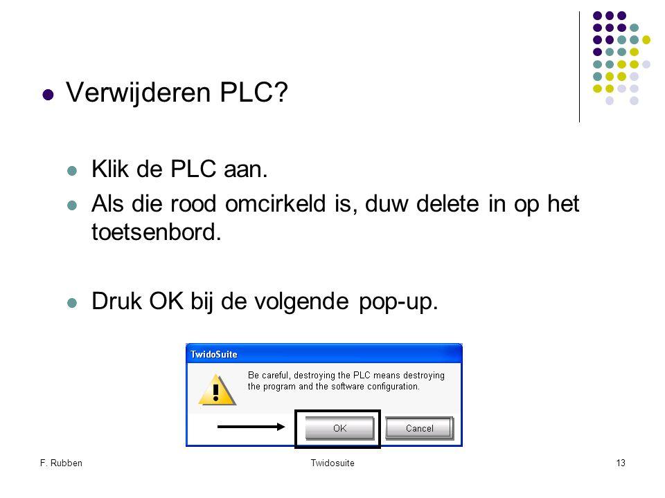 Verwijderen PLC Klik de PLC aan.
