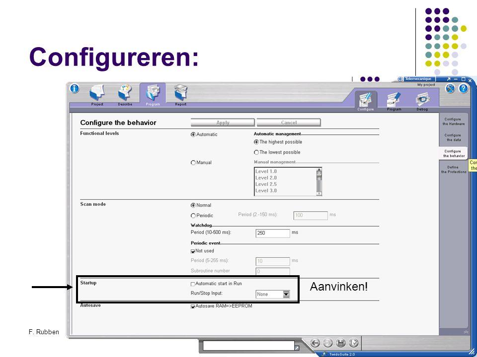 Configureren: Aanvinken! F. Rubben Twidosuite