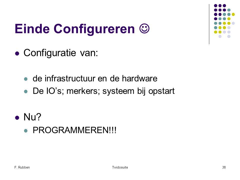 Einde Configureren  Configuratie van: Nu