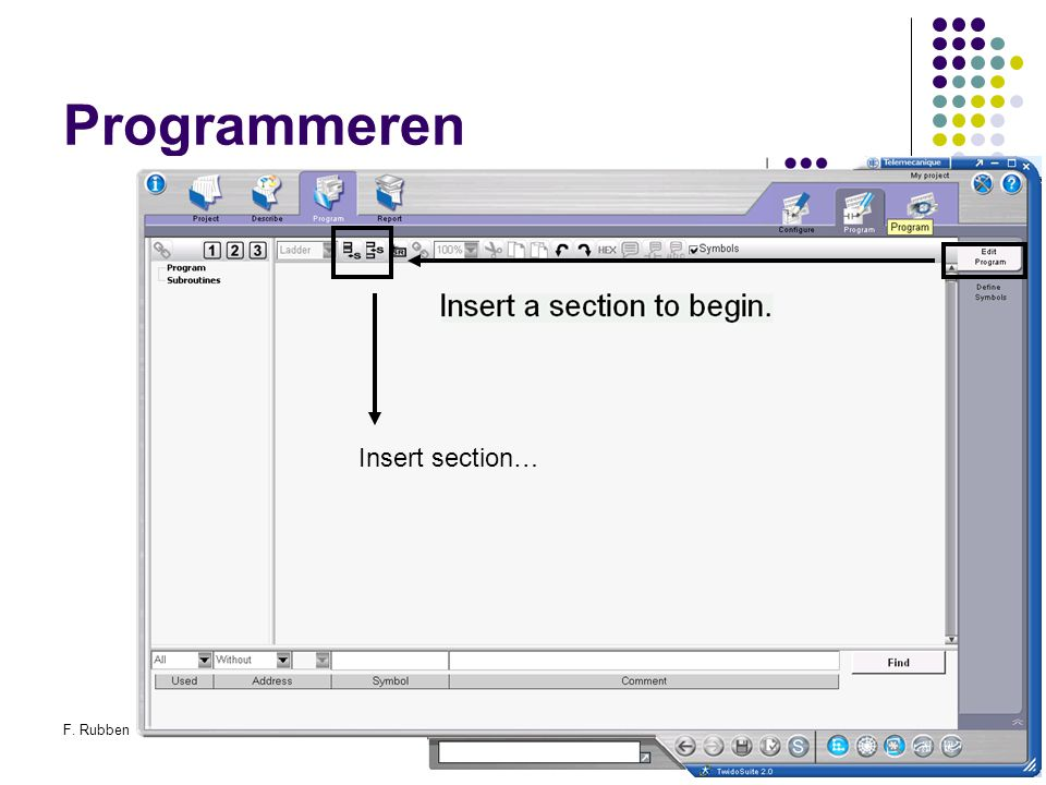 Programmeren Insert section… F. Rubben Twidosuite