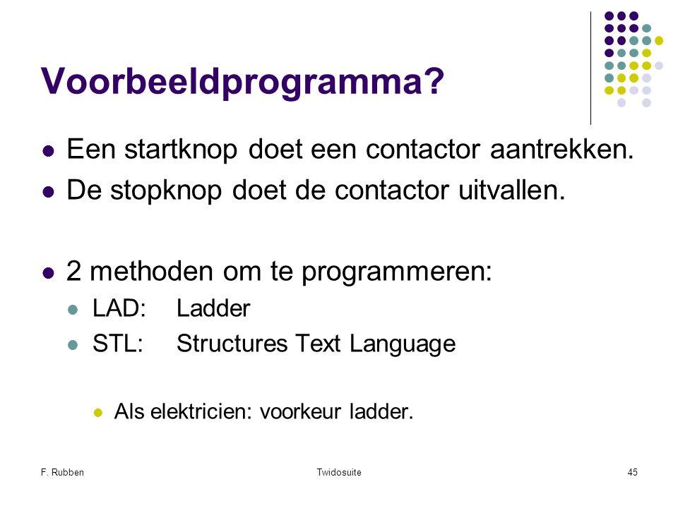 Voorbeeldprogramma Een startknop doet een contactor aantrekken.