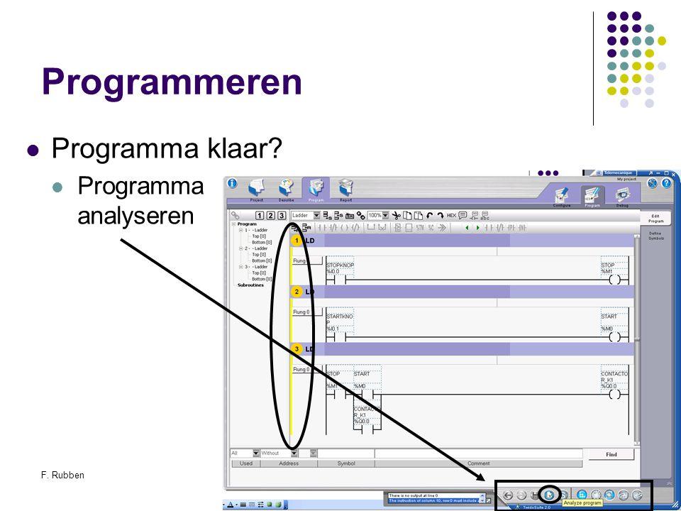 Programmeren Programma klaar Programma analyseren F. Rubben
