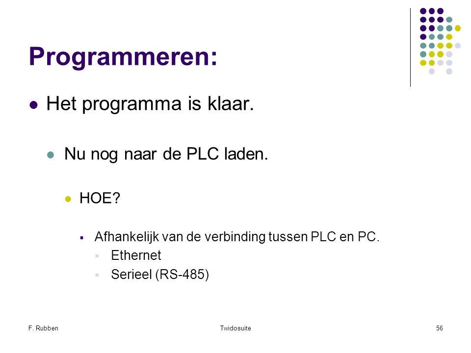 Programmeren: Het programma is klaar. Nu nog naar de PLC laden. HOE