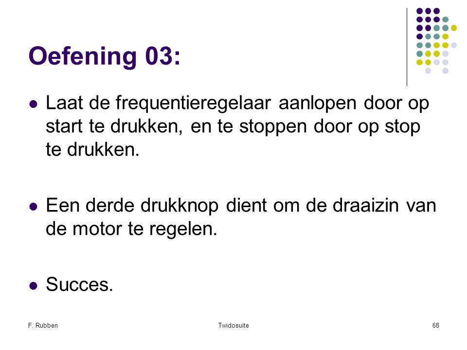Oefening 03: Laat de frequentieregelaar aanlopen door op start te drukken, en te stoppen door op stop te drukken.
