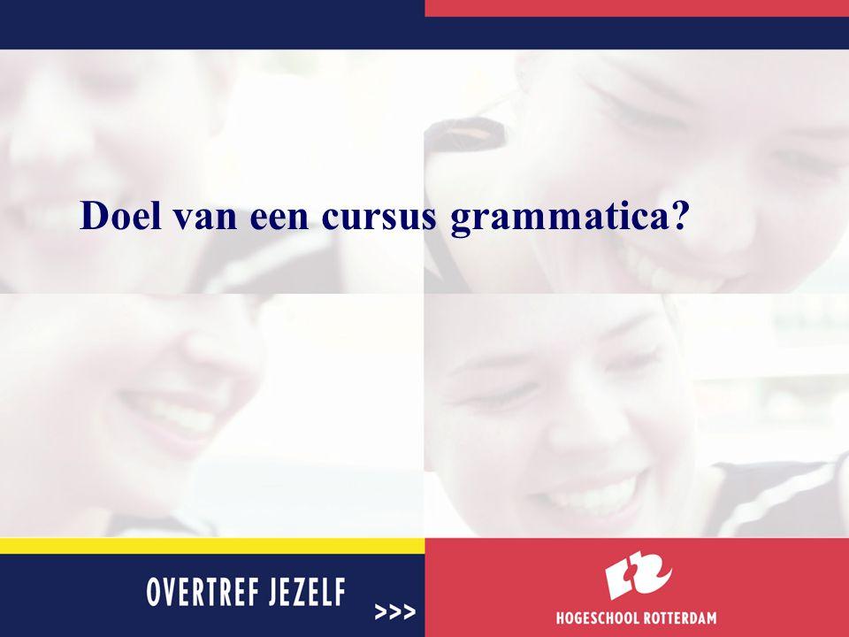 Doel van een cursus grammatica