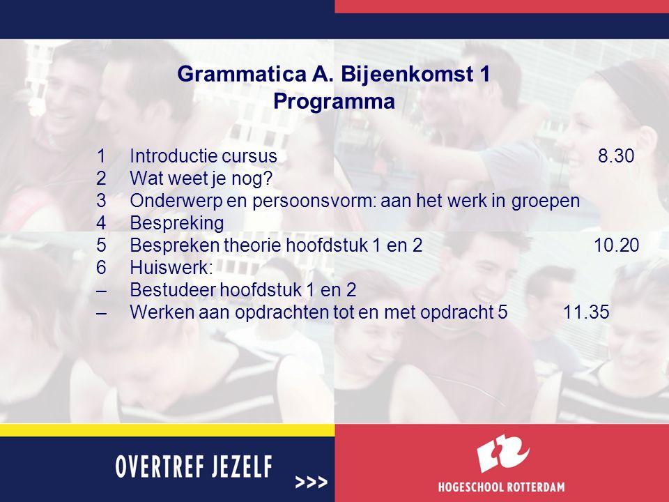 Grammatica A. Bijeenkomst 1 Programma