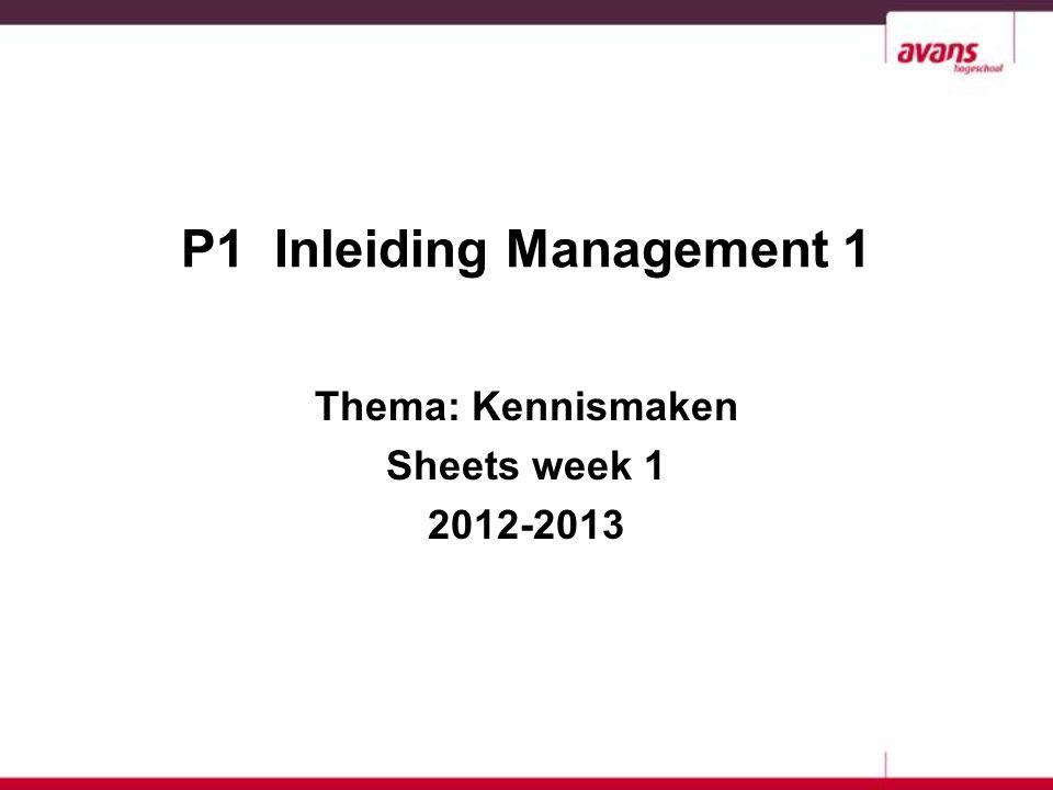 P1 Inleiding Management 1