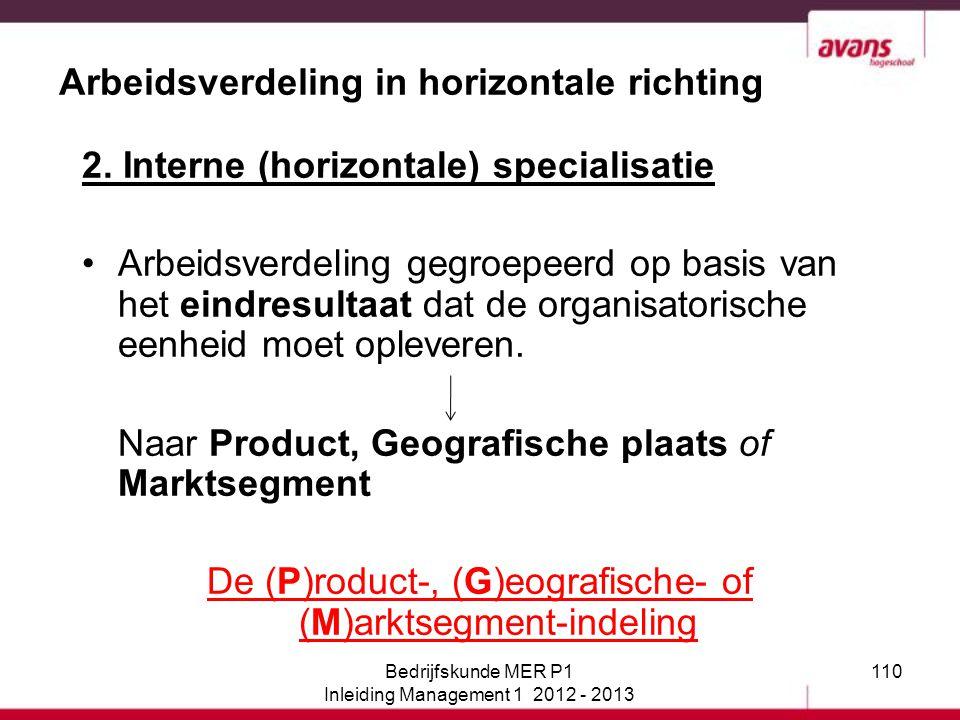 Arbeidsverdeling in horizontale richting