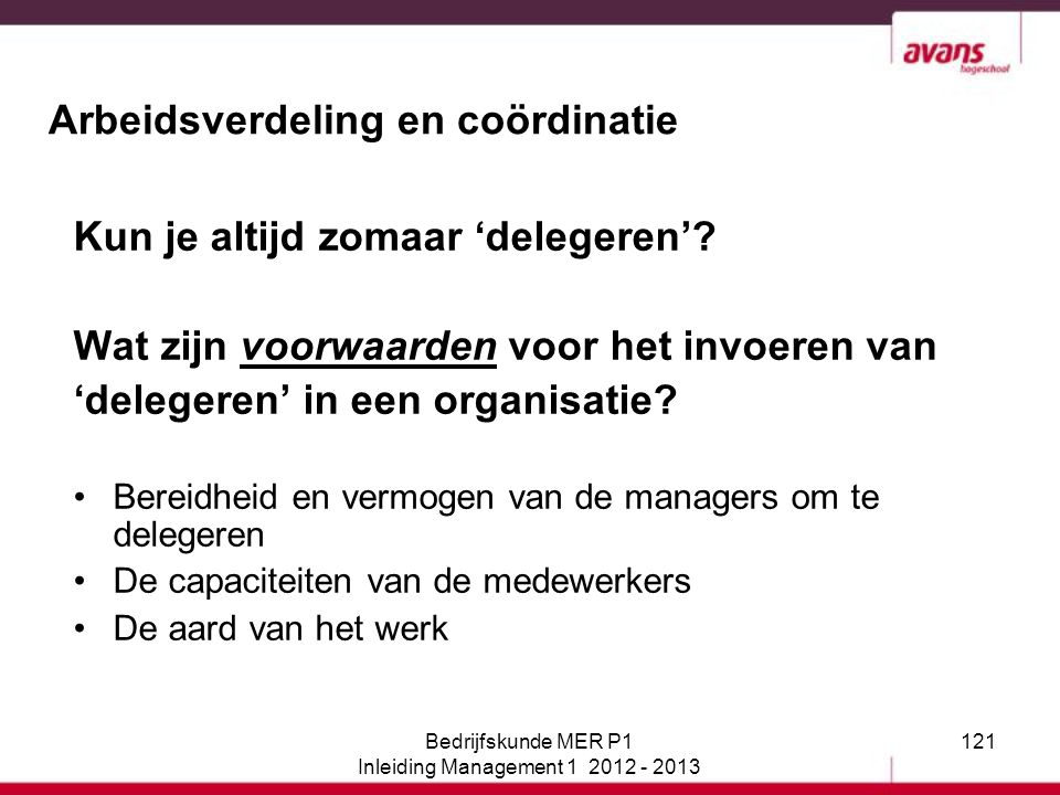 Arbeidsverdeling en coördinatie