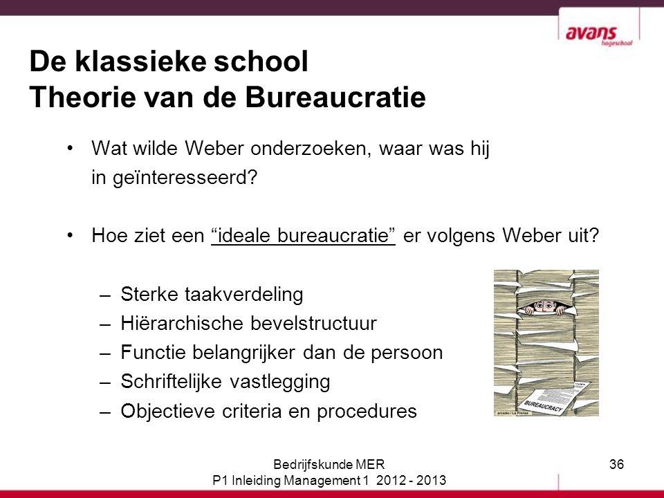 De klassieke school Theorie van de Bureaucratie