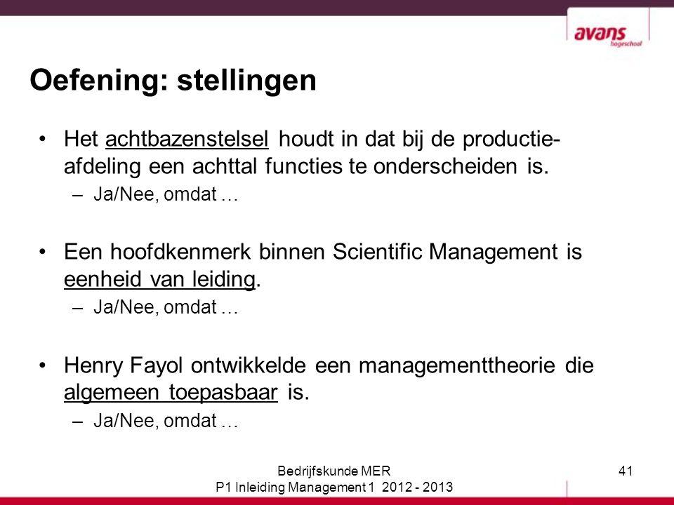 P1 Inleiding Management 1 2012 - 2013