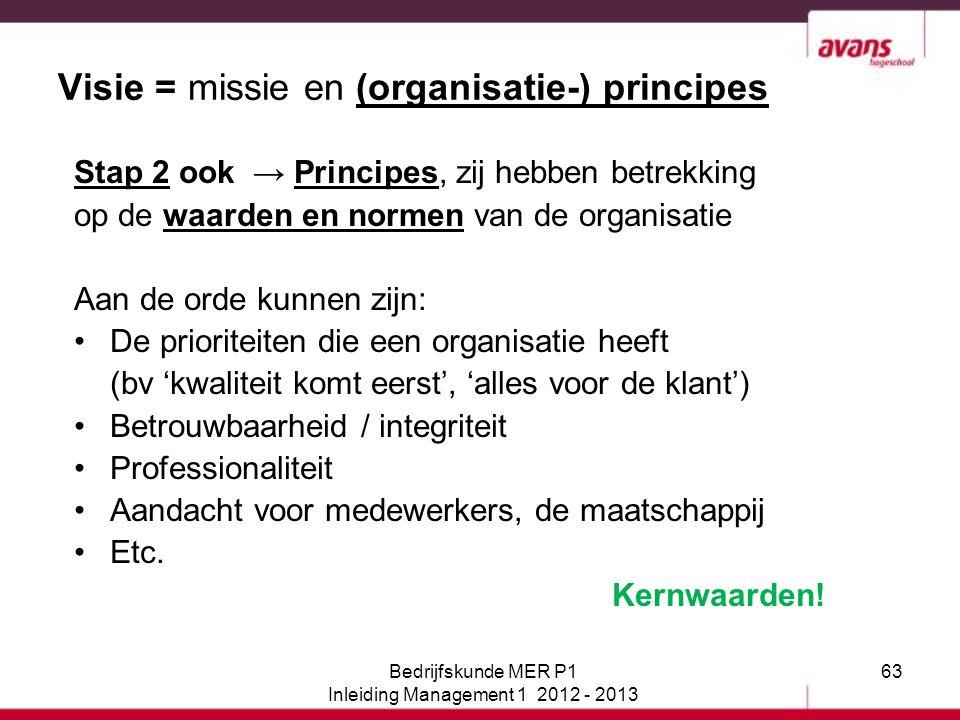 Visie = missie en (organisatie-) principes