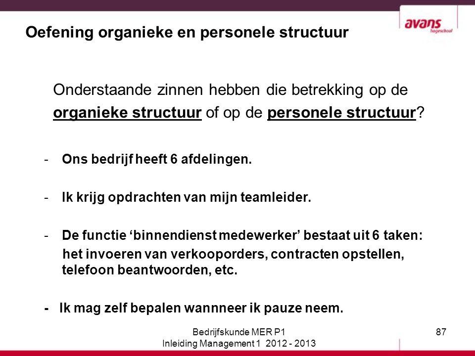 Oefening organieke en personele structuur