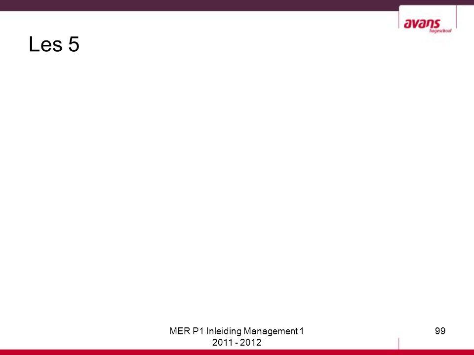 MER P1 Inleiding Management 1 2011 - 2012