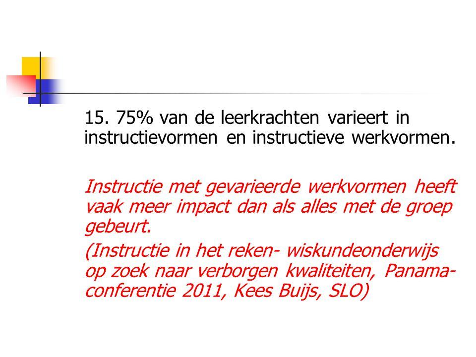 15. 75% van de leerkrachten varieert in instructievormen en instructieve werkvormen.