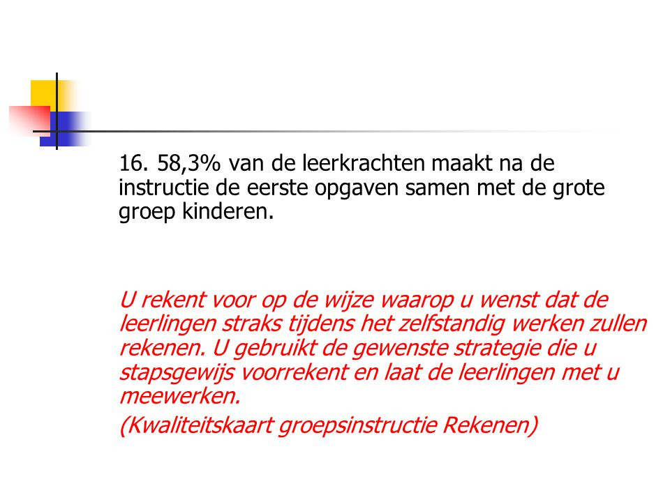 16. 58,3% van de leerkrachten maakt na de instructie de eerste opgaven samen met de grote groep kinderen.