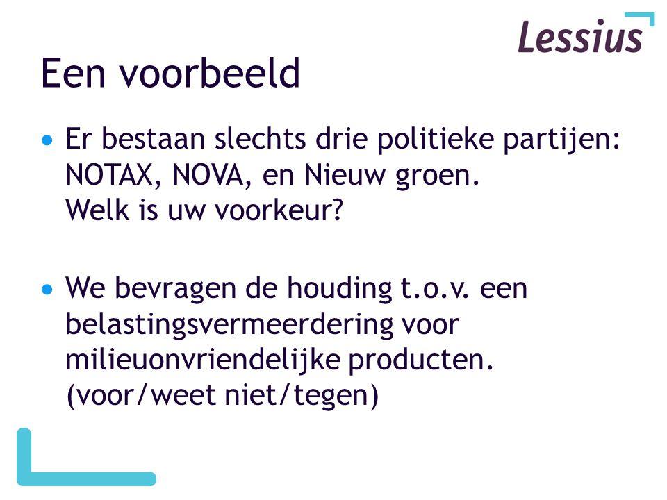 Een voorbeeld Er bestaan slechts drie politieke partijen: NOTAX, NOVA, en Nieuw groen. Welk is uw voorkeur