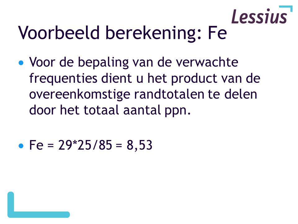 Voorbeeld berekening: Fe