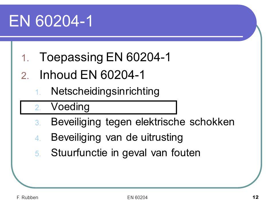 EN 60204-1 Toepassing EN 60204-1 Inhoud EN 60204-1