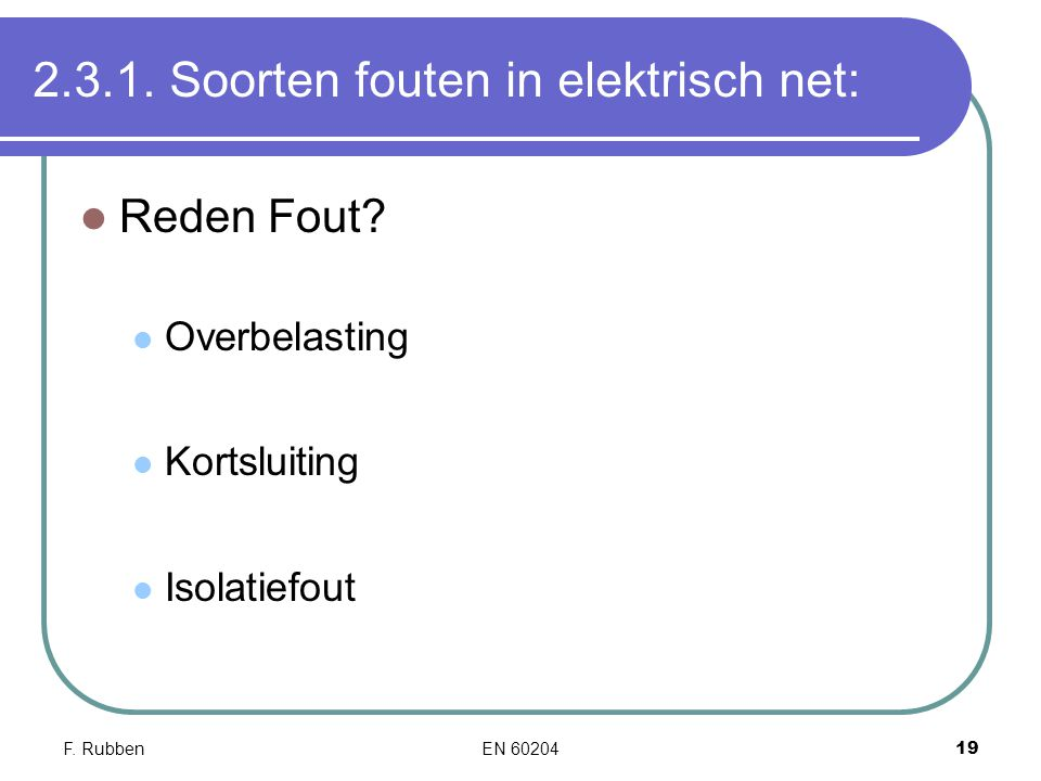 2.3.1. Soorten fouten in elektrisch net: