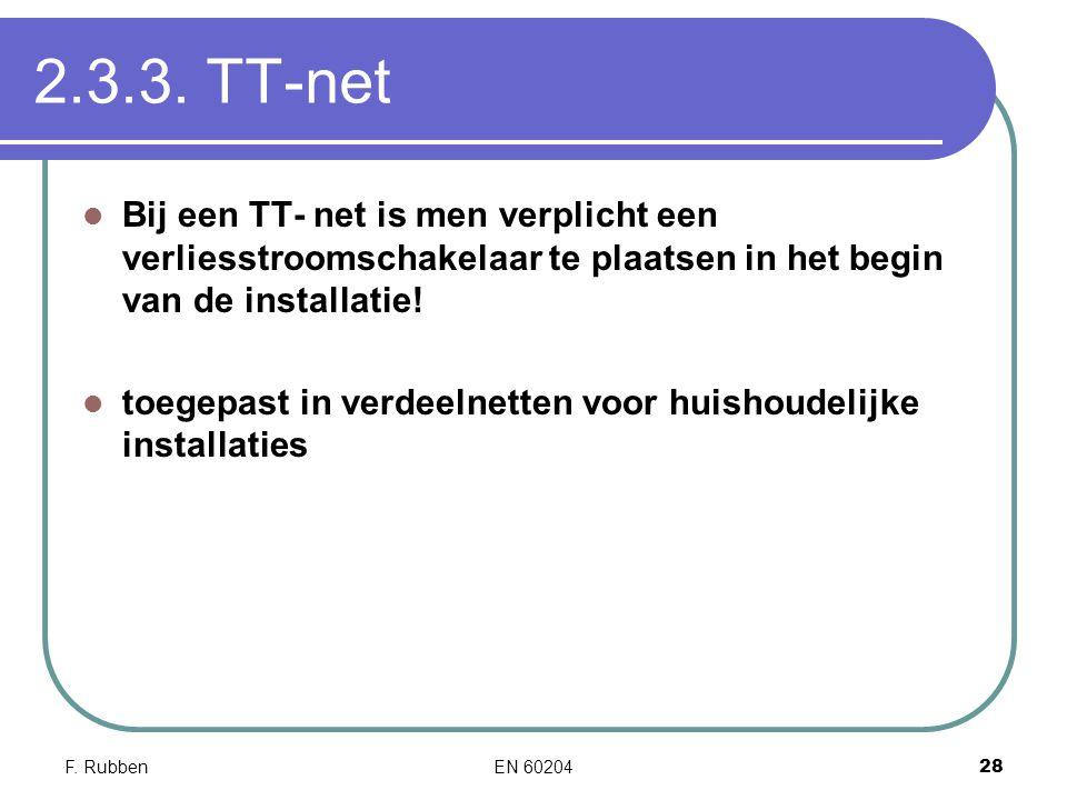 2.3.3. TT-net Bij een TT- net is men verplicht een verliesstroomschakelaar te plaatsen in het begin van de installatie!