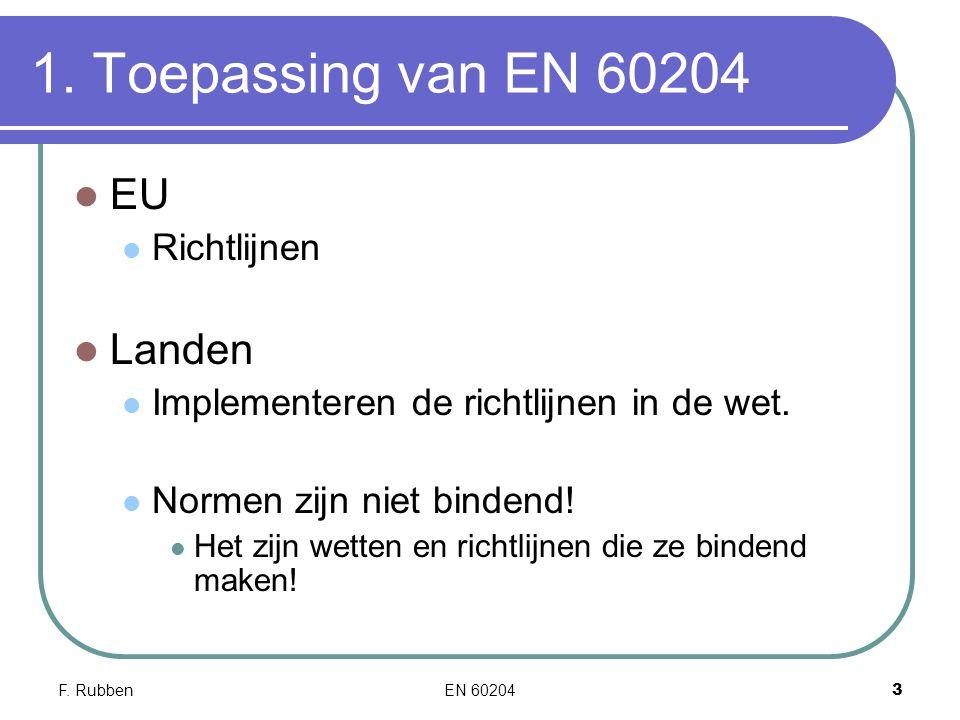 1. Toepassing van EN 60204 EU Landen Richtlijnen