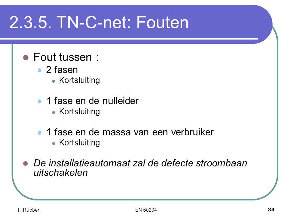 2.3.5. TN-C-net: Fouten Fout tussen : 2 fasen 1 fase en de nulleider