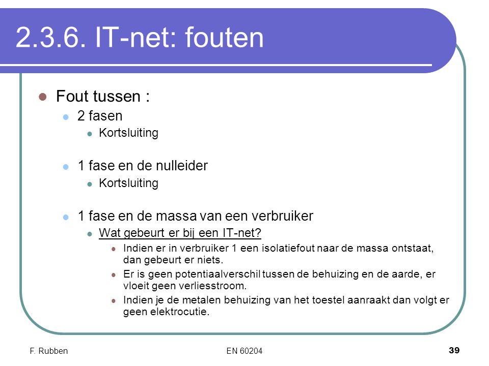 2.3.6. IT-net: fouten Fout tussen : 2 fasen 1 fase en de nulleider