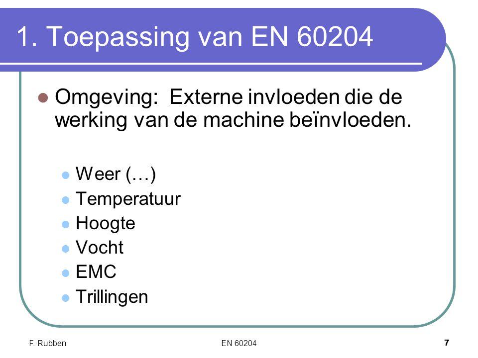 1. Toepassing van EN 60204 Omgeving: Externe invloeden die de werking van de machine beïnvloeden. Weer (…)