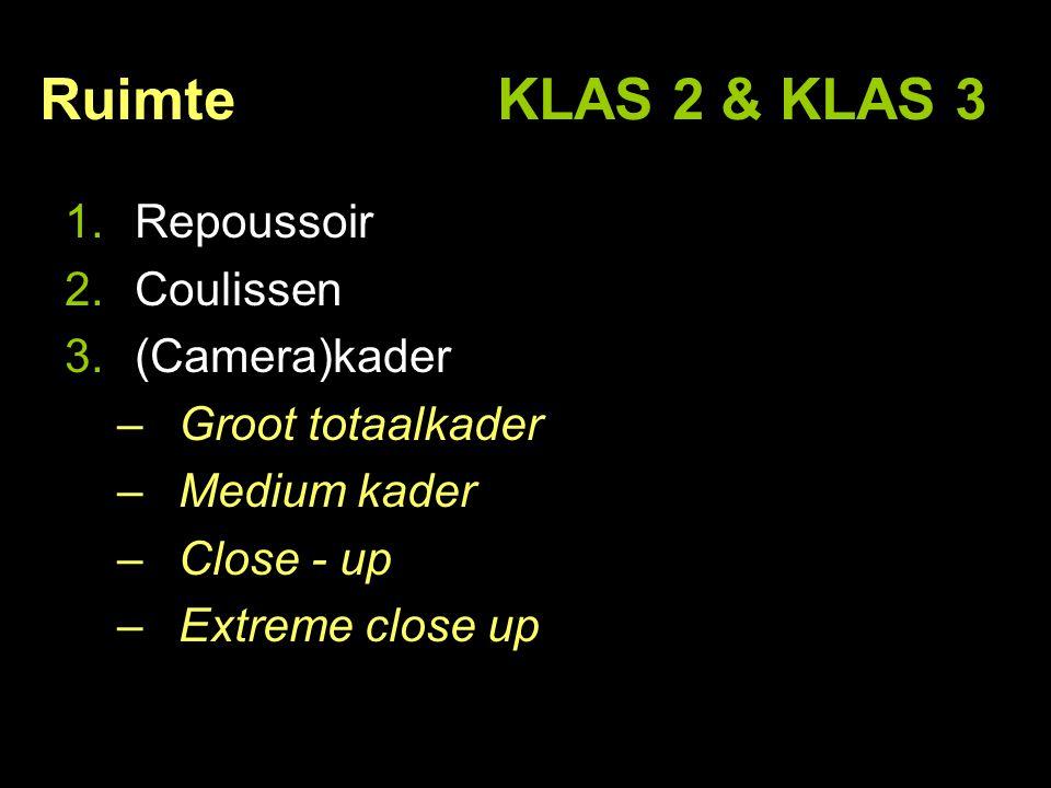 Ruimte KLAS 2 & KLAS 3 Repoussoir Coulissen (Camera)kader