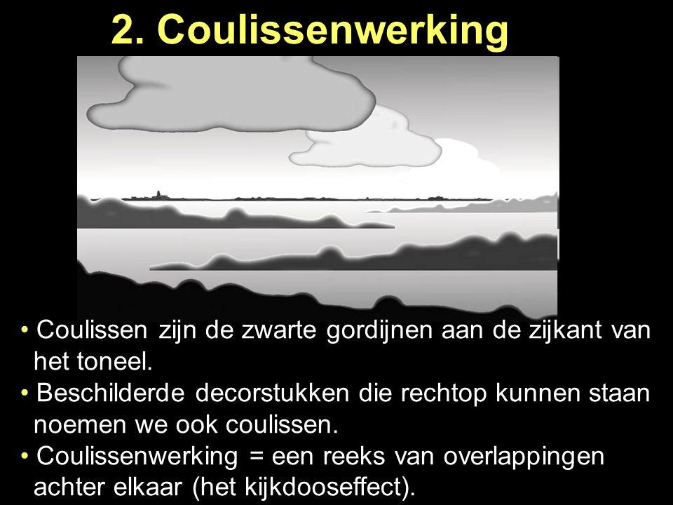 2. Coulissenwerking Coulissen zijn de zwarte gordijnen aan de zijkant van …het toneel.