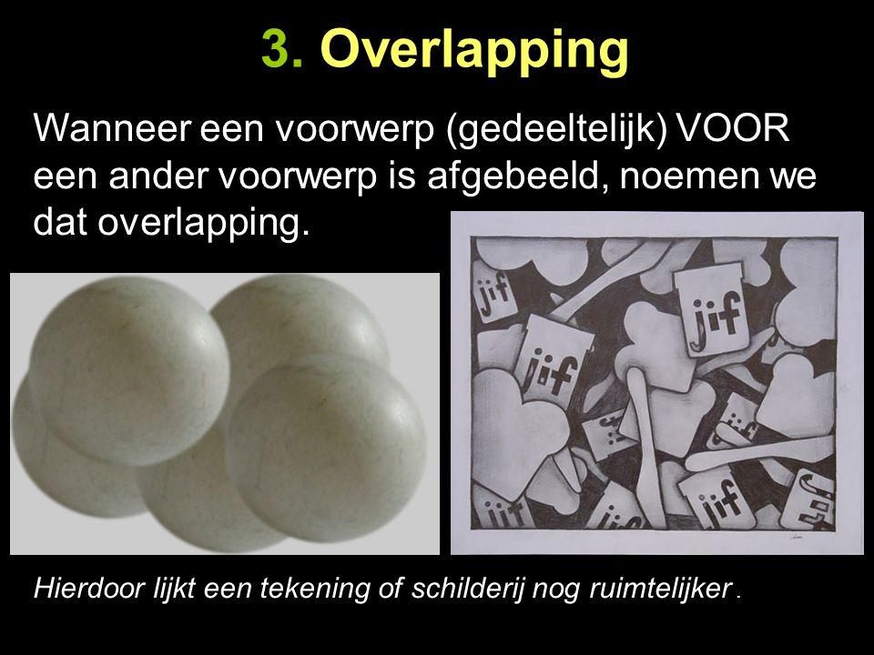 3. Overlapping Wanneer een voorwerp (gedeeltelijk) VOOR een ander voorwerp is afgebeeld, noemen we dat overlapping.
